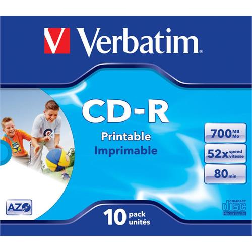 CD-R VERBATI.AZO PRINT.52x700MB-PACK10